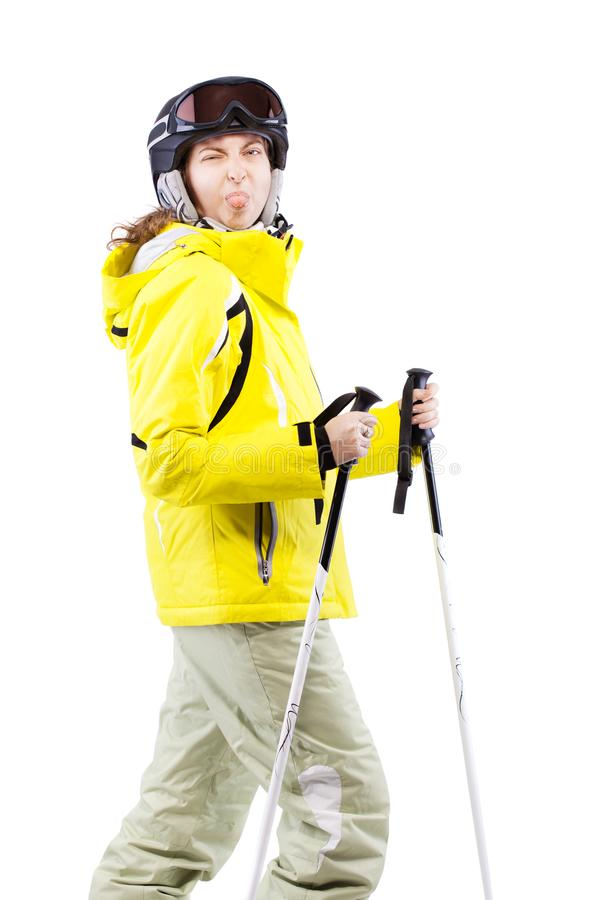Żeńska narciarka wtyka jej jęzor out fotografia royalty free
