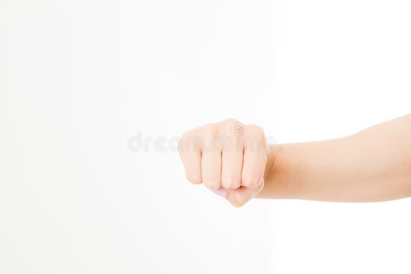 Żeńska pięść odizolowywająca na bielu Frontowy widok Egzamin próbny Up kosmos kopii szablon blank obrazy royalty free