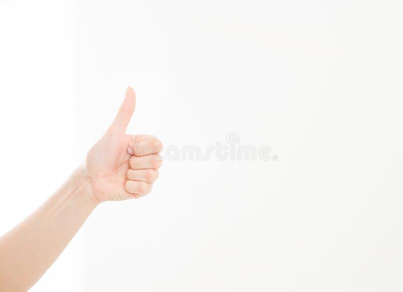 Żeńska ręka pokazuje jeden jak obliczenie odizolowywający na białym tle lub Egzamin próbny Up kosmos kopii szablon blank obrazy royalty free