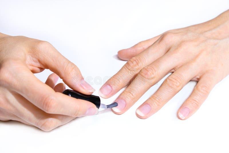 Żeńska ręka stosuje praktycznie przejrzystego lakier na gwoździu z muśnięciem tła pojęcia ręk odosobneni gacenia biały zdjęcia royalty free