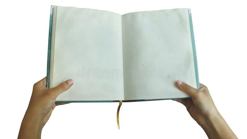 Żeńska ręki mienia pustego miejsca książka na Białym tle - Usychający Papierowy Texture/cyraneczki Hardback obrazy royalty free