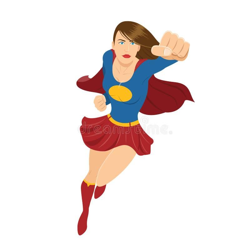 Żeński bohatera latanie z Czerwonym przylądkiem i pięścią Przygotowywającymi Walczyć ilustracja wektor