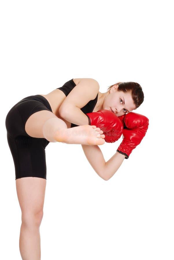 żeński boksera kopnięcie obrazy stock