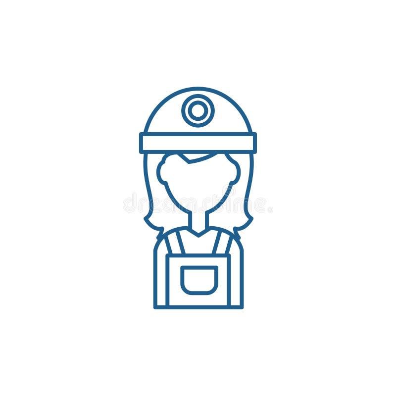 Żeński budowniczy linii ikony pojęcie Żeńskiego budowniczego płaski wektorowy symbol, znak, kontur ilustracja ilustracja wektor