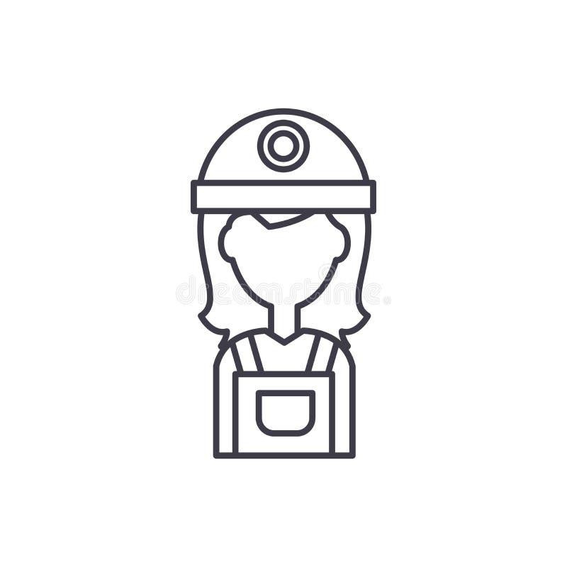 Żeński budowniczy linii ikony pojęcie Żeńskiego budowniczego wektorowa liniowa ilustracja, symbol, znak ilustracja wektor