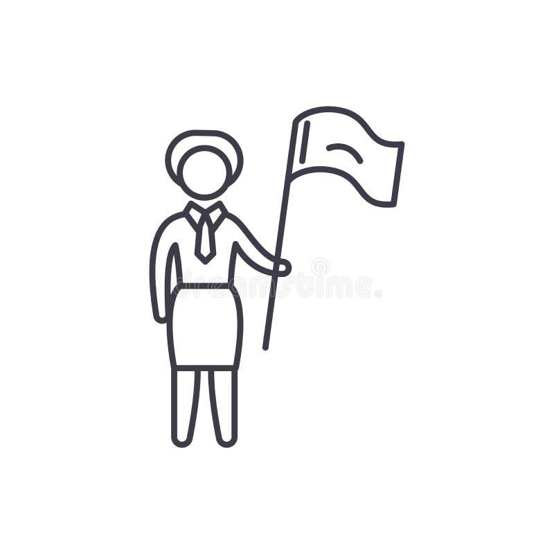 Żeński cel linii ikony pojęcie Żeńskiego celu wektorowa liniowa ilustracja, symbol, znak royalty ilustracja
