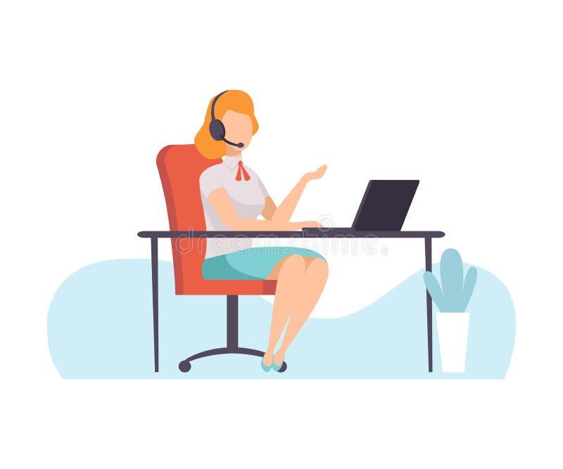 Żeński centrum telefoniczne pracownik, Online serwisu pomocy asystent Opowiada Online z hełmofonami, Odlegli edukacja kursy ilustracja wektor