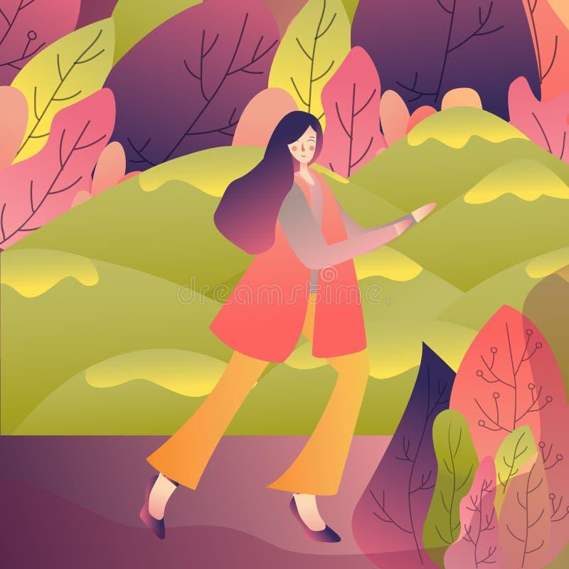 Żeński chodzący samotny cieszy się odświeżającą plenerową naturę w parkowej wiośnie Wektorowy ilustracyjny rysunek ilustracja wektor