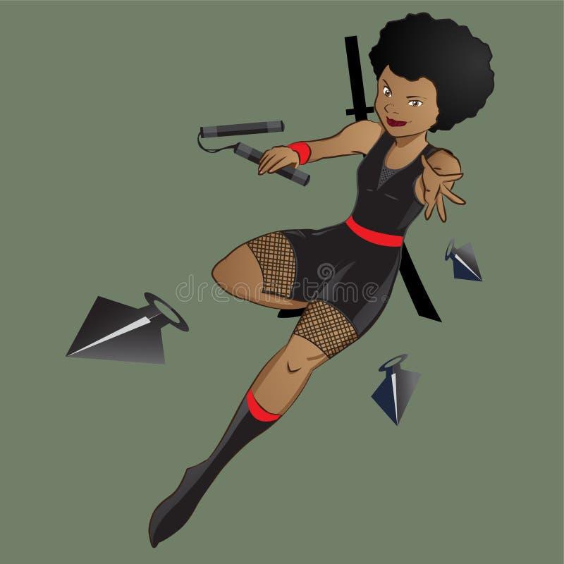 Żeński czarny afro ninja charakter z nunchaku i kunai ilustracja wektor