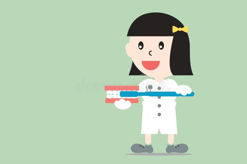 Żeński dentysta demonstruje szczotkować używać ząb modeluje, stomatologiczna opieka ilustracji