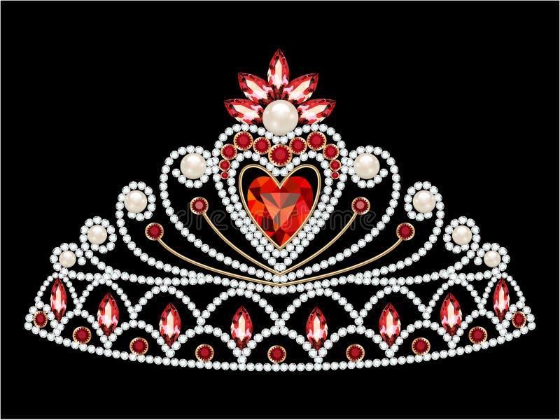 żeński diadem z cennymi kamieniami i sercem royalty ilustracja