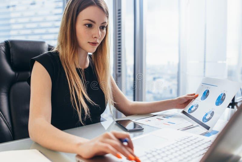 Żeński dyrektor pracuje w biurowym obsiadaniu przy biurkiem analizuje biznesowe statystyki trzyma diagramy i mapy używać laptop obrazy stock