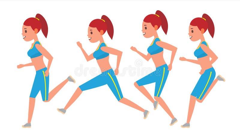 Żeński Działający wektor Animacj ramy Ustawiać Sport atlety sprawności fizycznej charakter Maratoński rajdu samochodowego biegacz ilustracja wektor