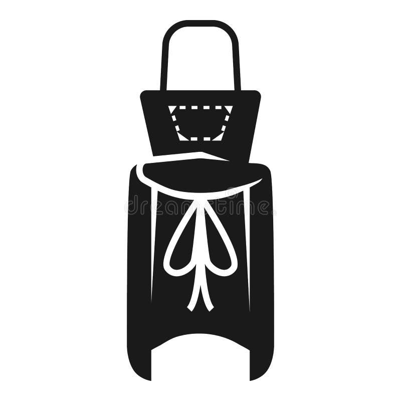 Żeński fartuch za od ikony, prosty styl ilustracji
