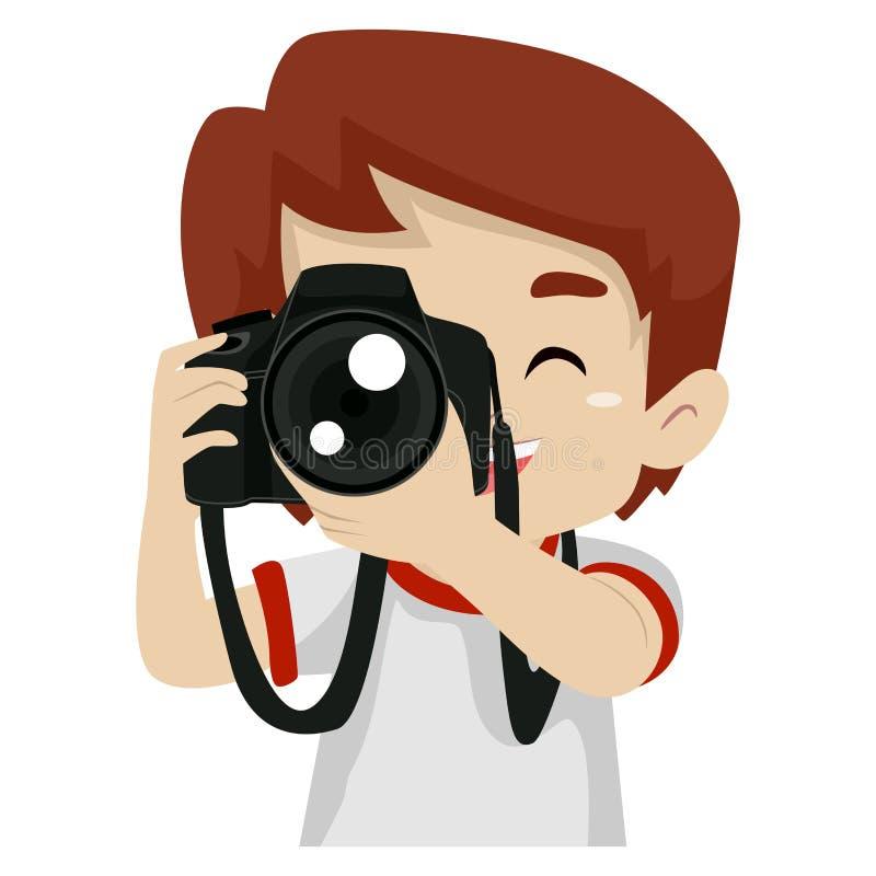 Żeński fotograf trzyma cyfrową kamerę royalty ilustracja
