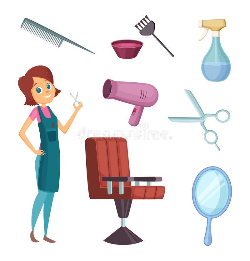 Żeński fryzjer męski przy pracą Stylista z różnymi narzędziami dla zakładu fryzjerskiego Moda obrazki w kreskówka stylu royalty ilustracja