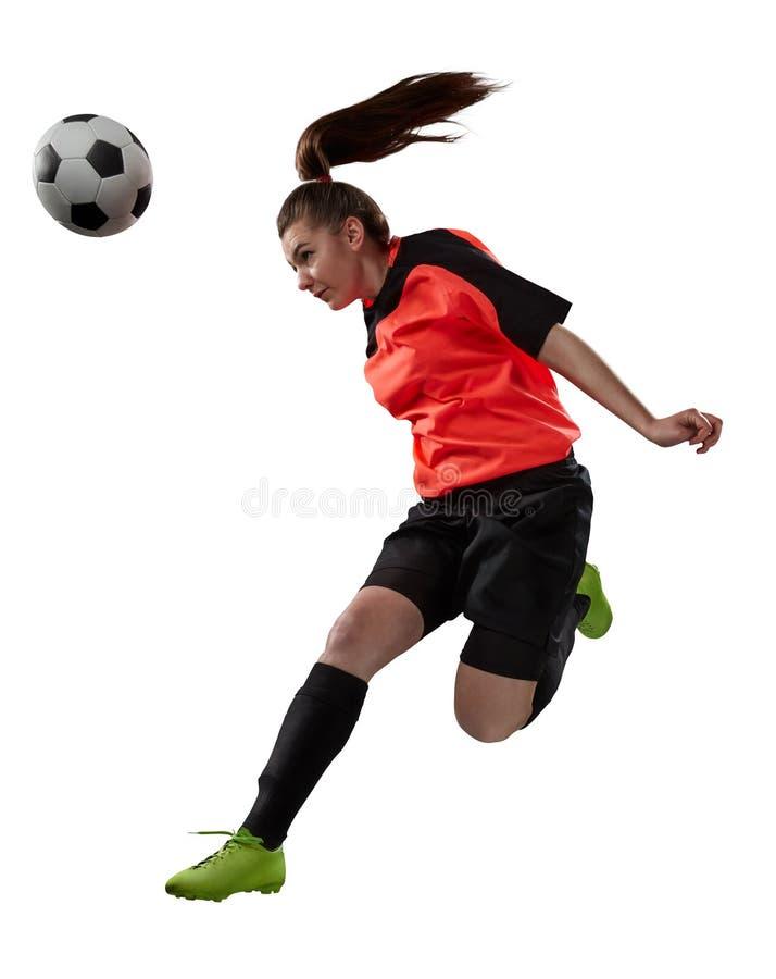 Żeński gracz piłki nożnej odizolowywający na bielu obrazy stock