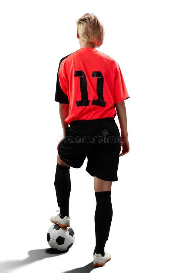 Żeński gracz piłki nożnej odizolowywający na bielu zdjęcie royalty free