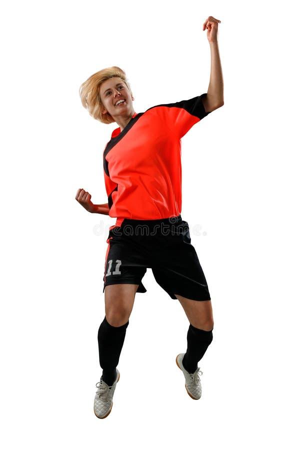 Żeński gracz piłki nożnej odizolowywający na bielu zdjęcia royalty free