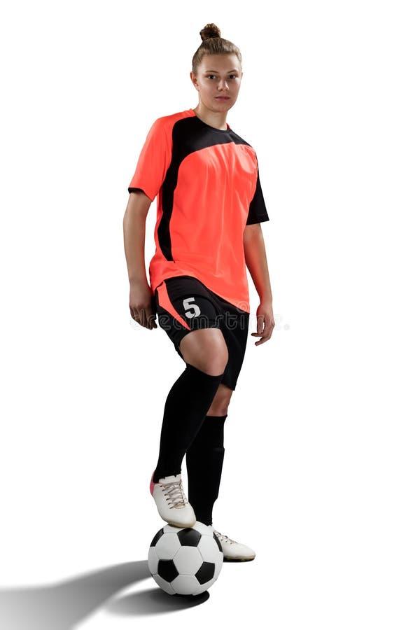 Żeński gracz piłki nożnej odizolowywający na bielu obraz royalty free
