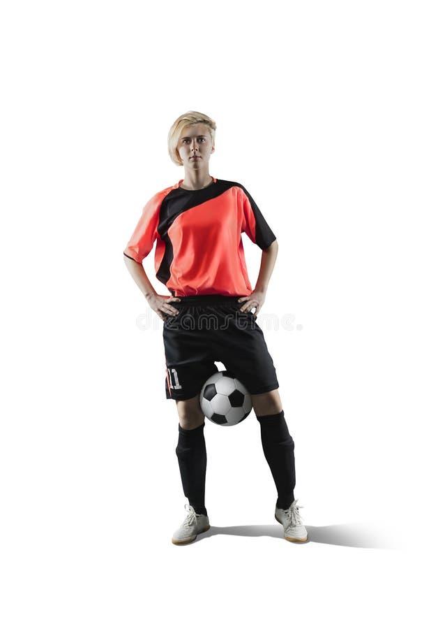 Żeński gracz piłki nożnej odizolowywający na bielu fotografia stock