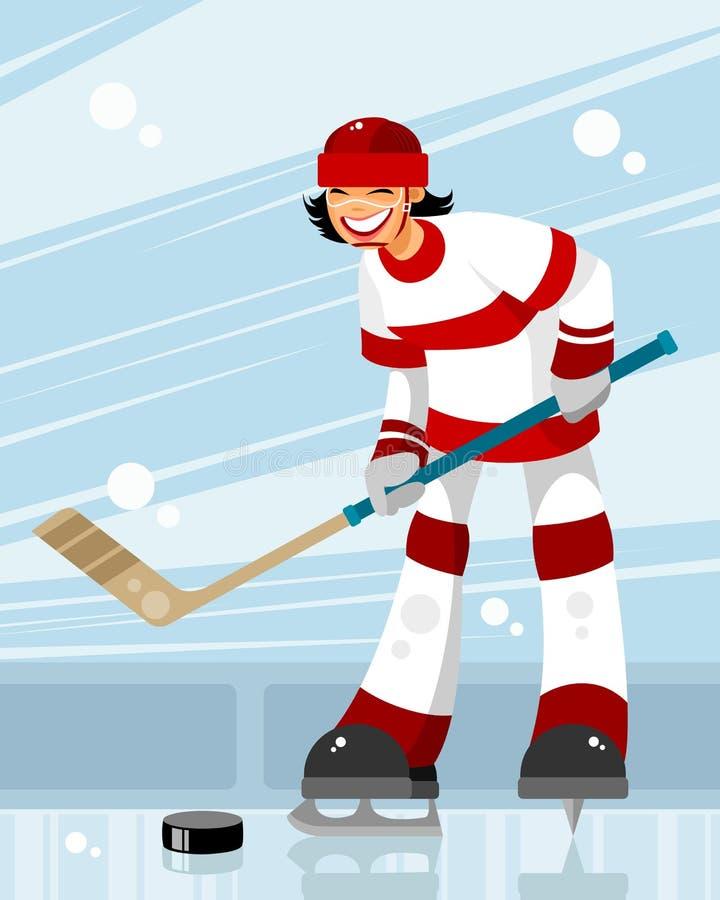 Żeński gracz w hokeja ilustracji