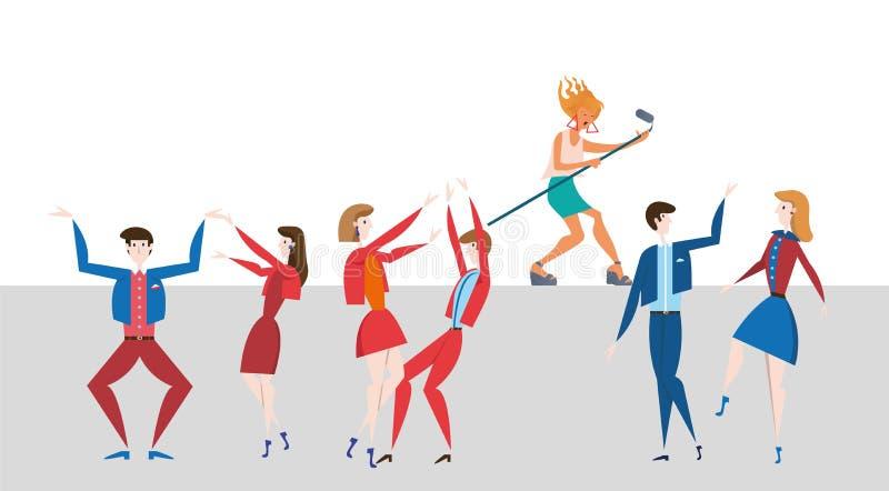 Żeński gwiazda muzyki pop spełnianie przed widownią Muzykalny przedstawienie i tłum Kolorowa płaska wektorowa ilustracja ilustracja wektor
