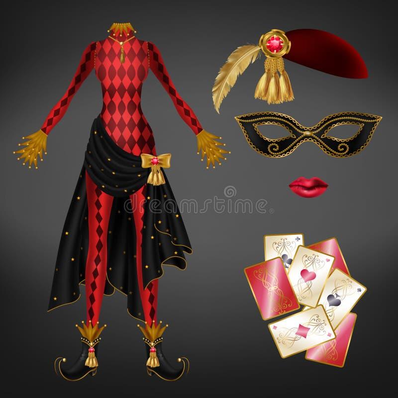 Żeński jokeru kostium, karta do gry realistyczny wektor ilustracji