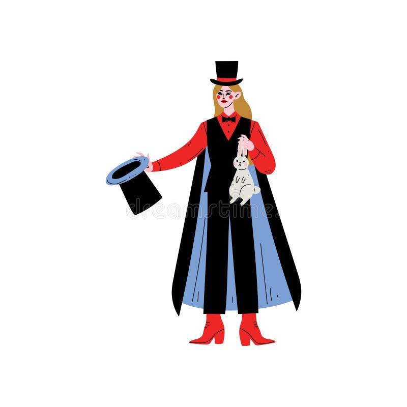 Żeński magika charakter Trzyma Odgórnego kapeluszu i królika wektoru ilustrację ilustracji
