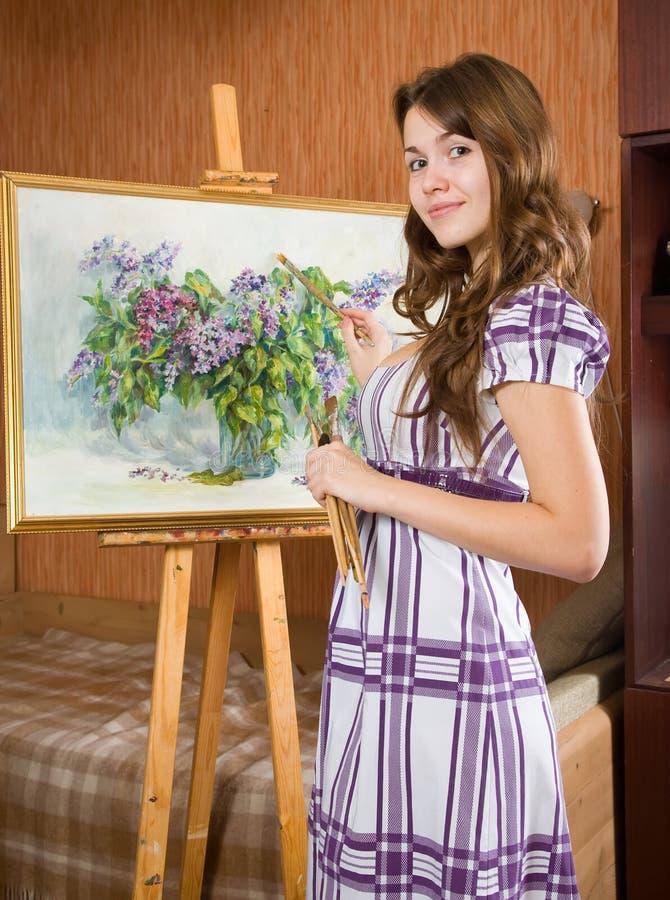 żeński malarz obrazy royalty free