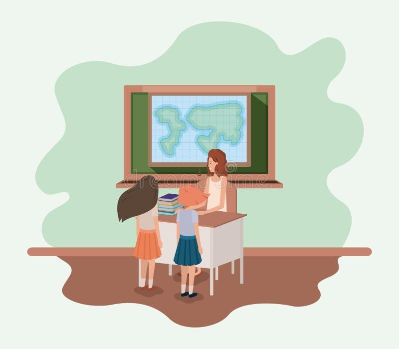 Żeński nauczyciel w geografii klasie z uczniami ilustracja wektor