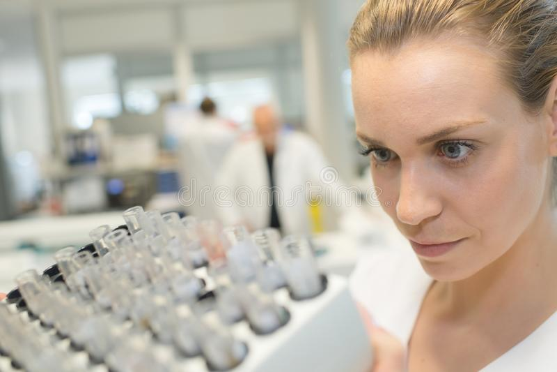 Żeński naukowiec egzamininuje chemiczną próbkę w próbnej tubce w lab zdjęcie stock