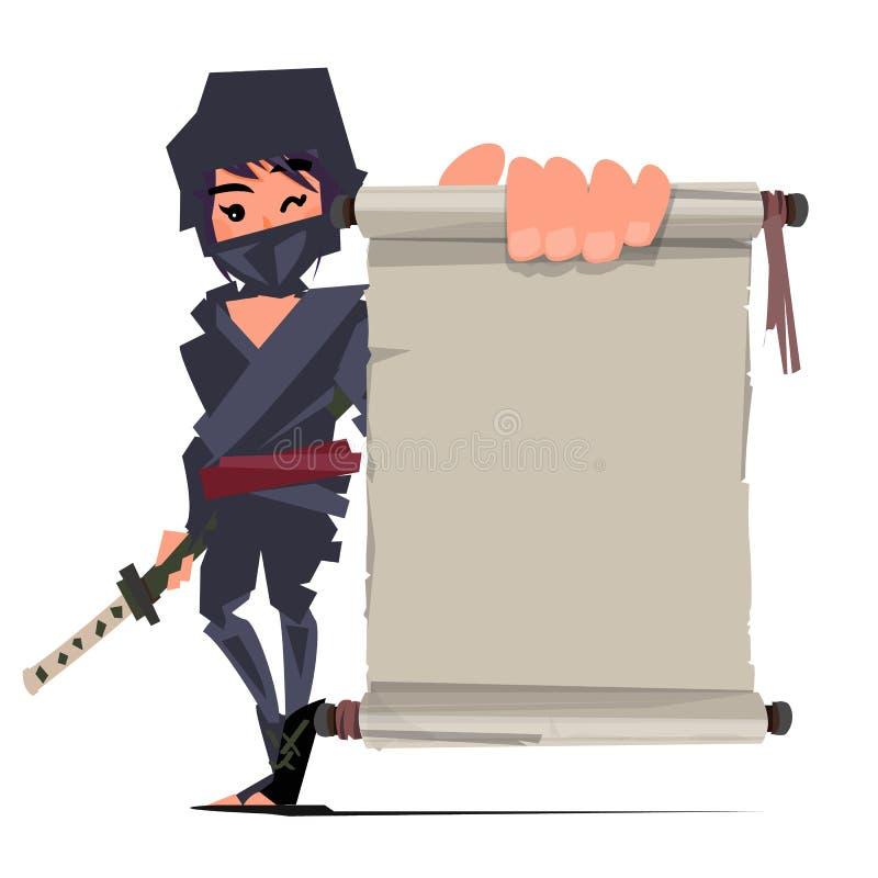 Żeński ninja wojownik pokazuje starego papier przedstawiać ninja technika royalty ilustracja