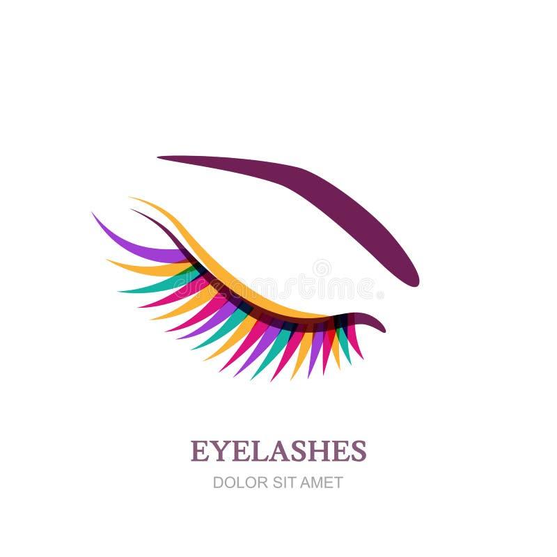 Żeński oko z kolorowymi rzęsami Wektorowy logo, emblemata projekt Pojęcie dla piękno salonu, kosmetyków, oblicza i makeup, royalty ilustracja