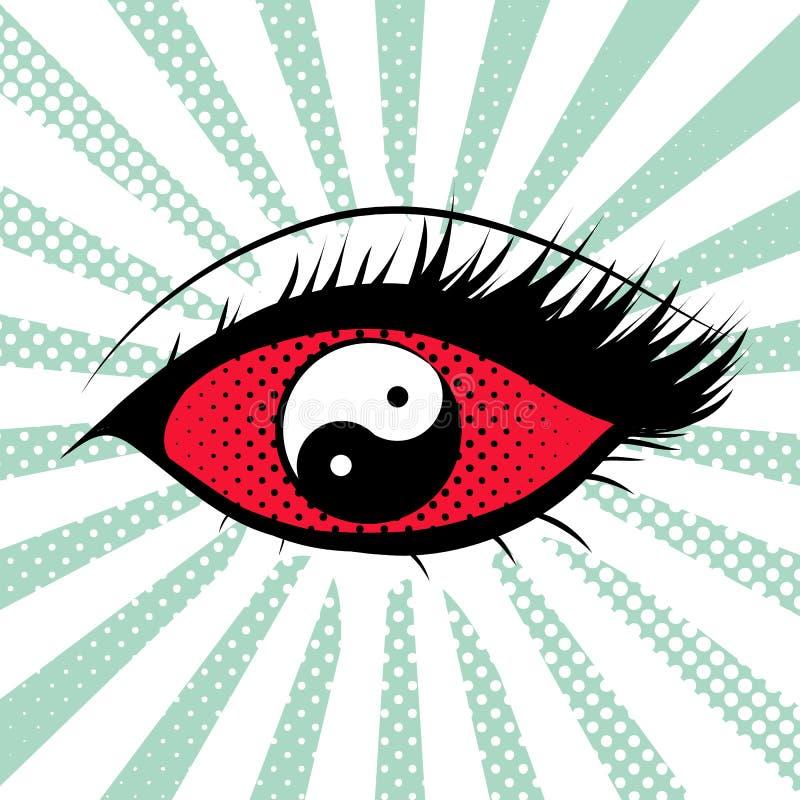 Żeński oko z yin Yang gałką oczną ilustracji