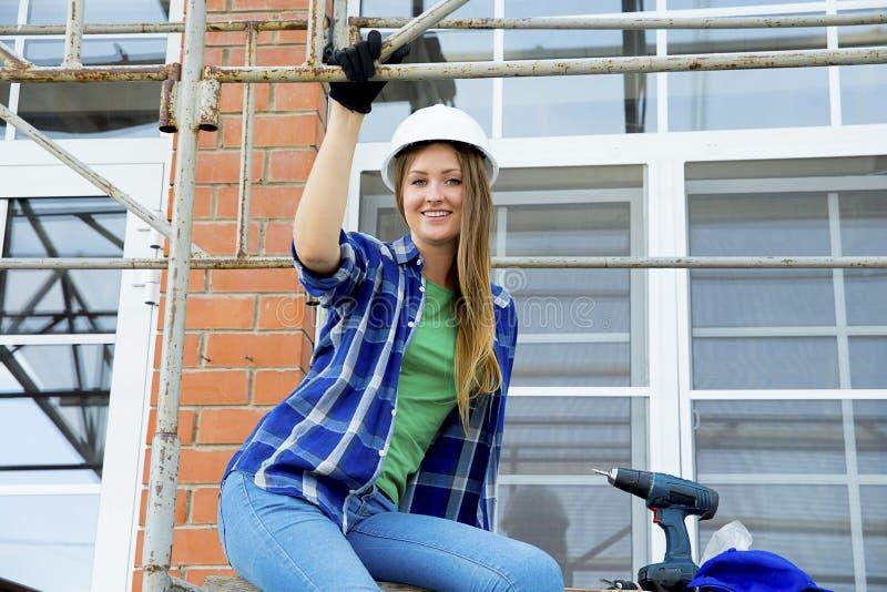 Żeński pracownik budowlany fotografia stock