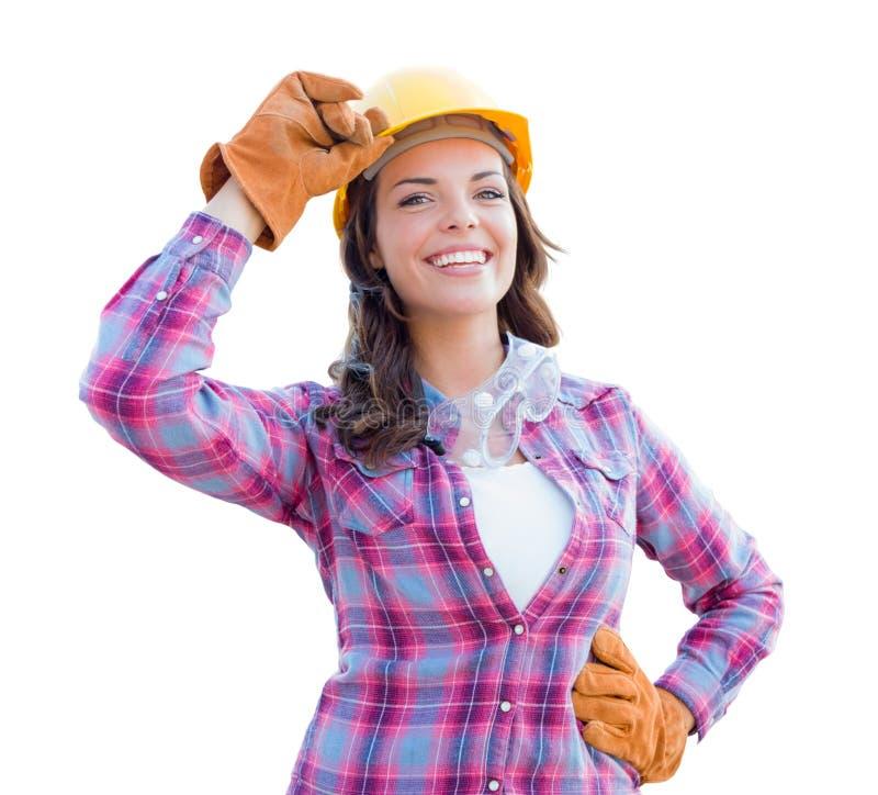 Żeński pracownik budowlany Jest ubranym Ciężkiego kapelusz i rękawiczki fotografia stock