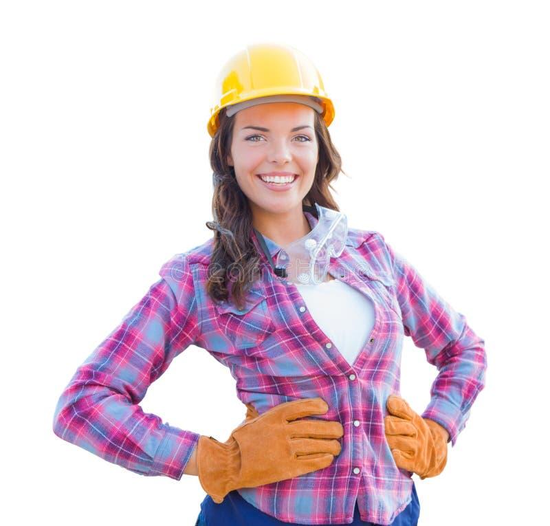 Żeński pracownik budowlany Jest ubranym rękawiczki i Ciężkiego kapelusz zdjęcia stock