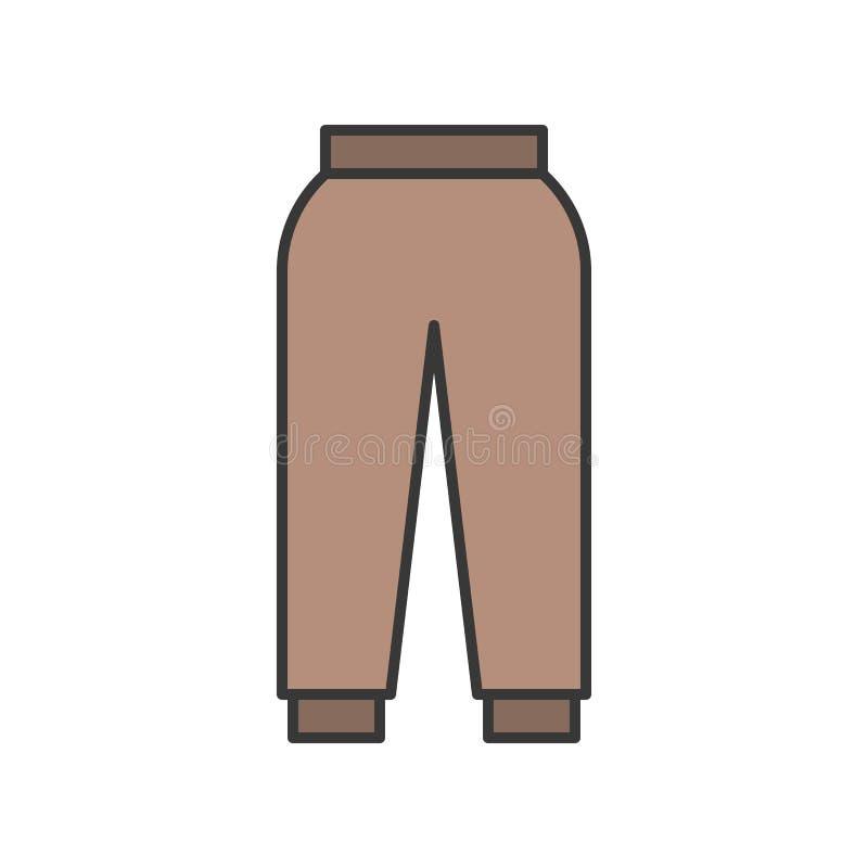 Żeński przypadkowy trouser, wypełniający koloru konturu editable uderzenie royalty ilustracja
