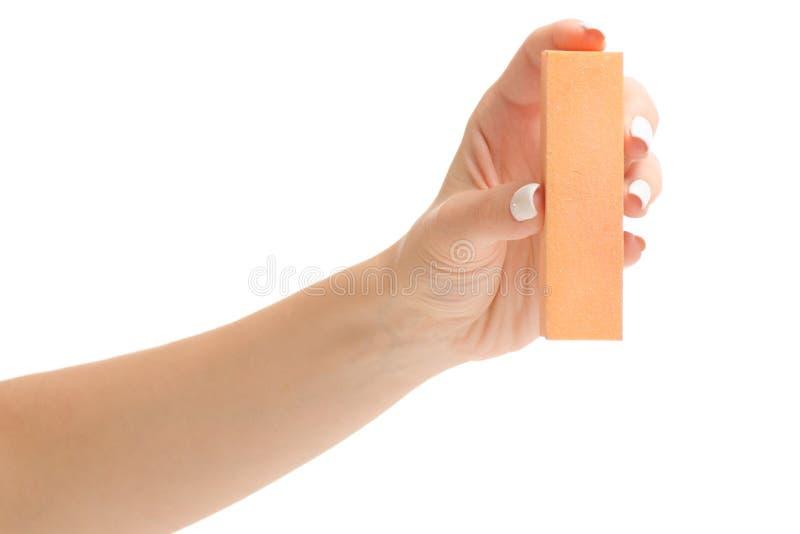 Żeński ręka manicure'u gwoździa maniak obraz stock