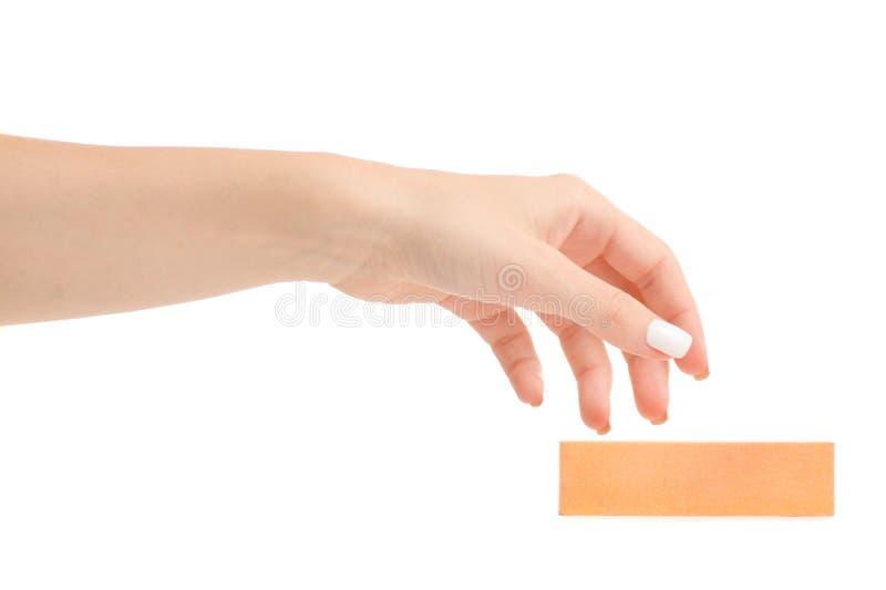 Żeński ręka manicure'u gwoździa maniak obrazy royalty free