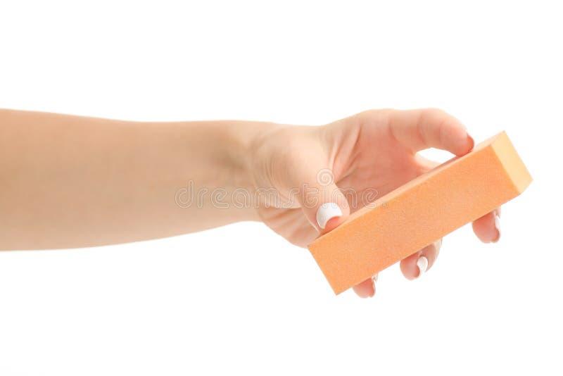 Żeński ręka manicure'u gwoździa maniak fotografia stock