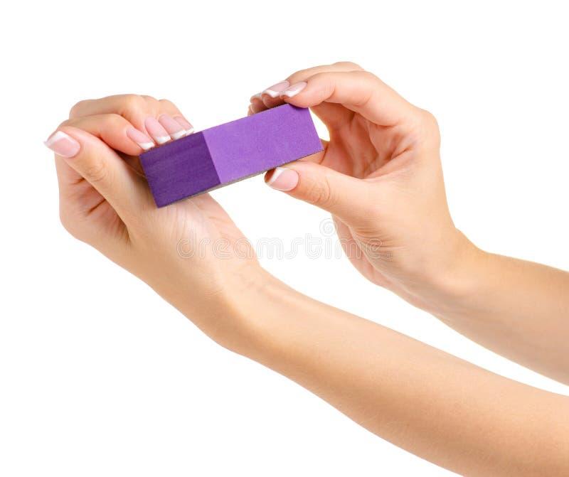 Żeński ręka manicure'u gwoździa maniak fotografia royalty free