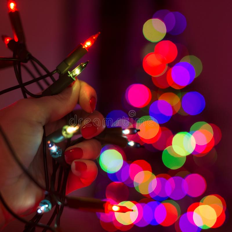 Żeński ręki mienia sznurek bożonarodzeniowe światła z defocused xmas drzewem w tle Bożonarodzeniowe światła bokeh fotografia stock