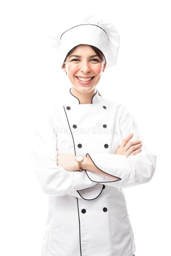 Żeński szef kuchni w studiu fotografia stock