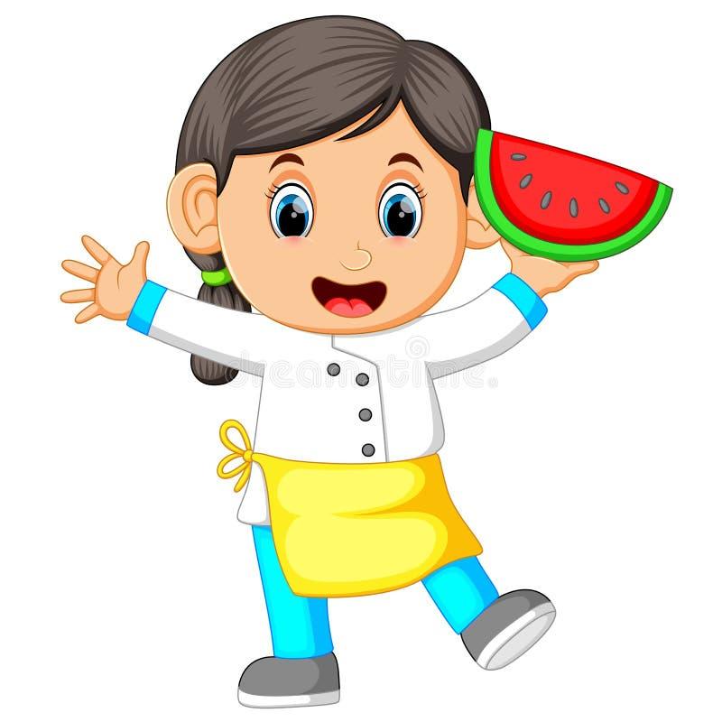 Żeński szefa kuchni mienia arbuz ilustracji