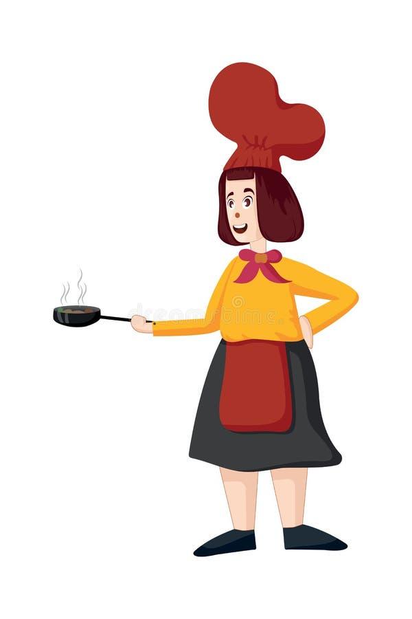 Żeński szefa kuchni wektor Kobieta kucharz w fartuch pozyci z smażyć nieckę ilustracja wektor