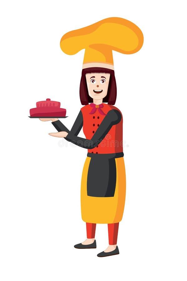 Żeński szefa kuchni wektor Kobieta kucharz w fartuch pozyci z tacą royalty ilustracja