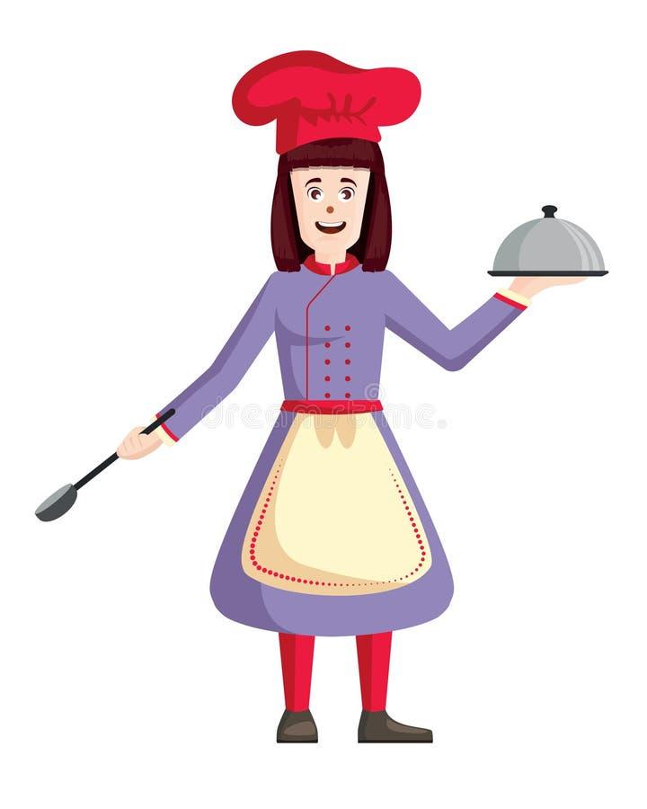 Żeński szefa kuchni wektor Kobiety mienia kucbarska taca i szpachelka ilustracji