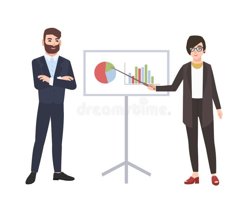Żeński urzędnik robi prezentacji przed mężczyzną Biznesowy spotkanie, szkolenie, uczenie Śliczni postać z kreskówki ilustracji